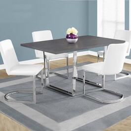 Monarch Specialties Dining Table- Grey and Chrome Metal -  36 in. x 60 in.