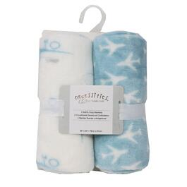 Tendertyme Blue Airplanes Stroller Blanket - 2pc.