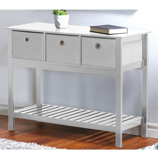 HomeStyles White Console Basket Table