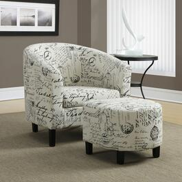 Monarch Specialties Inc. Vintage Accent Chair and Ottoman - 2pc.