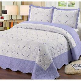 Beauty Sleep Bedding Embroidered Purple Quilt Set - Twin