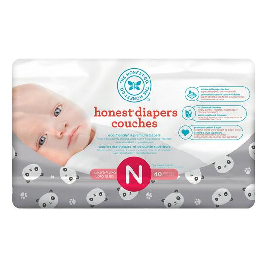 The Honest Company Panda Patterned Diapers Size N - 160pk.