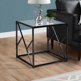 Monarch Specialties Black Nickel Mirror Top End Table - 22in.