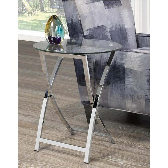 Brassex Cross Legs Accent Side Table - Silver