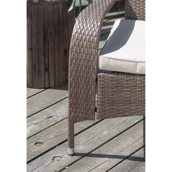 Patioflare Wicker Muskoka Chair - Caramel Brown Wicker with Beige Cushion