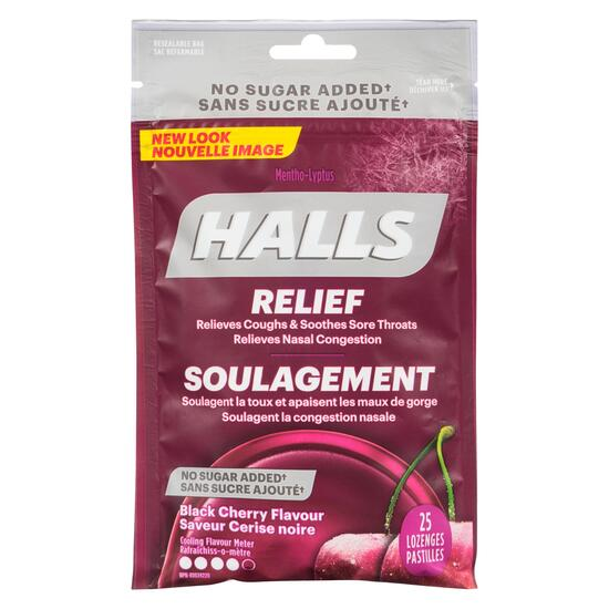 Halls Relief Black Cherry Lozenges - 25pk.
