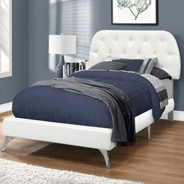 Monarch Specialities Twin Faux Leather Bed Frame with Chrome Legs