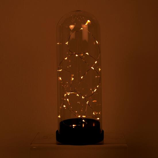 Truu Design Clear Bell Jar with LED Starry String Lights - 11in.