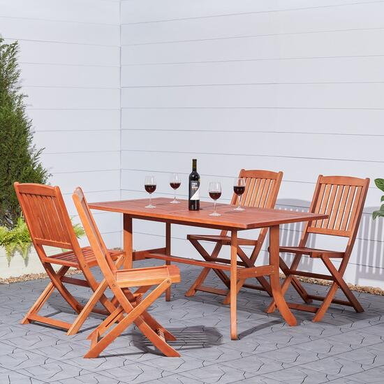 Vifah Malibu Outdoor Dining Set with Folding Chairs - 5pc.