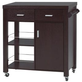 Brassex Dark Cherry Kitchen Cart with Storage