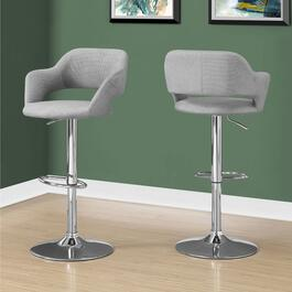 Monarch Specialties Chrome Metal Grey Bar Chair