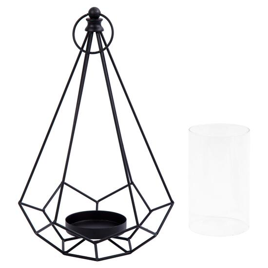 Truu Design Black Geo Wire Pillar Candle Holder - 15in.