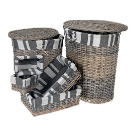 Wicker Oval 2pc. Hamper Set with 4pc. Storage Basket