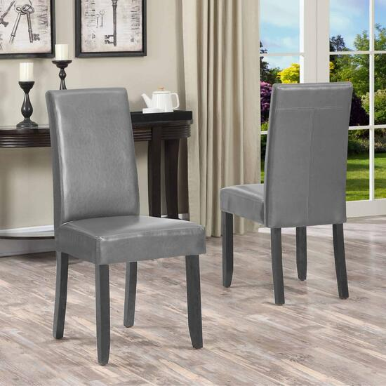 Titus Grey Contemporary Bonded Leather Dining Chairs - 2pk.