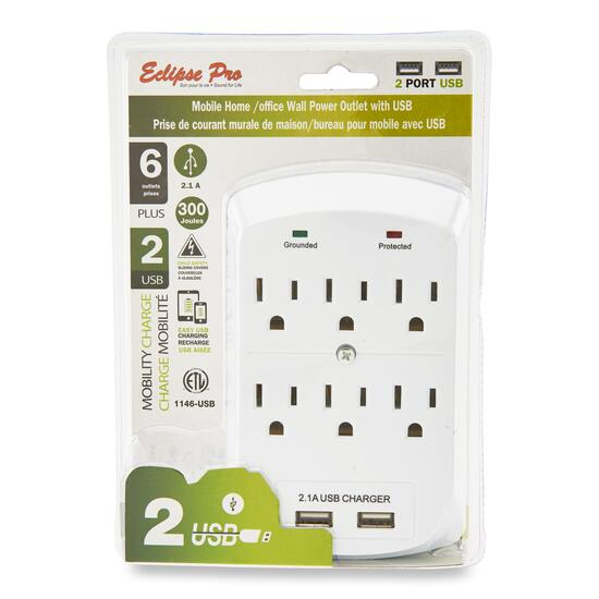 Eclipse Plus Electric Wall Power Outlet with USB Ports