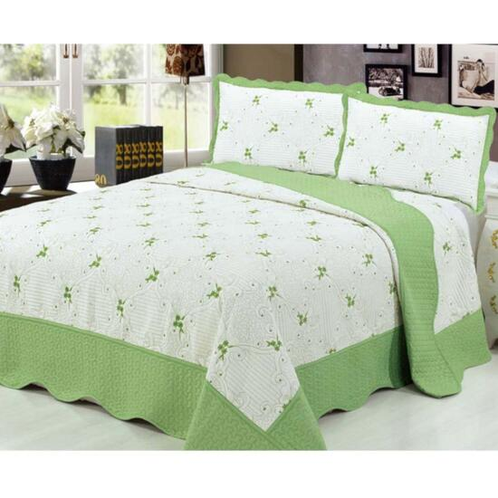 Beauty Sleep Bedding Embroidered Green Quilt Set  - King