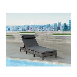 Patioflare Laura Wicker Lounger - Grey Wicker with Dark Grey Cushion