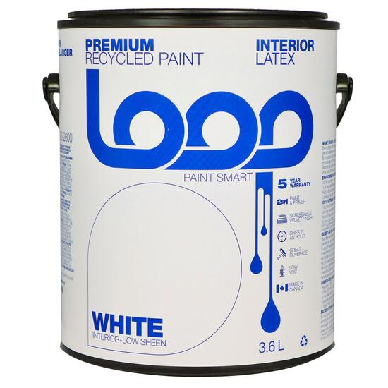Loop White Interior Latex Premium Recycled Paint - 3.8L