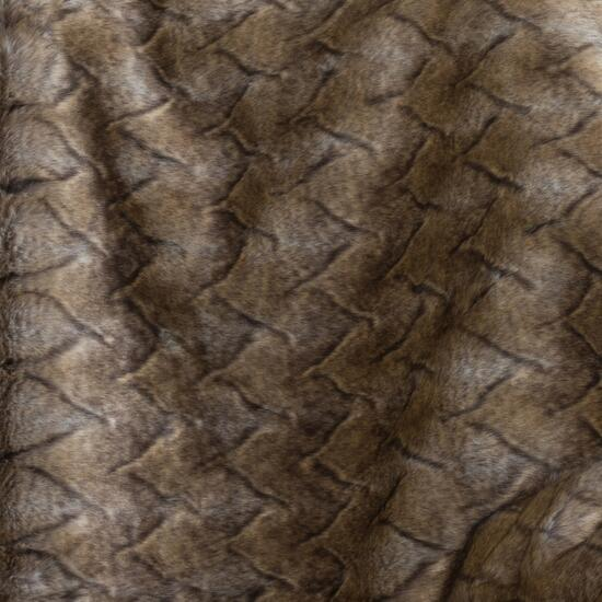 Milano Brown Wolf V Faux Fur Throw