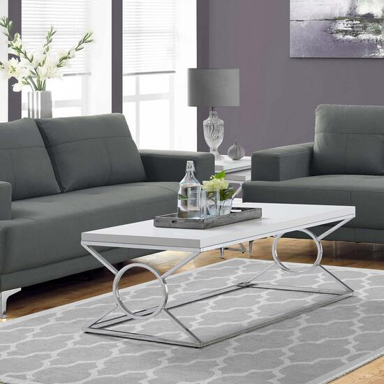 monarch specialties glossy white chrome metal coffee table 44in x 22in