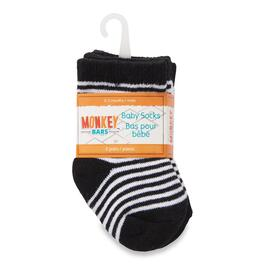 MONKEY BARS Black Baby Socks 2pk. - 0-12M