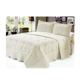 Beauty Sleep Bedding Embroidered Cream Quilt Set - Queen