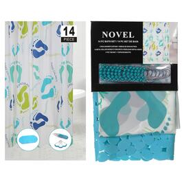 Peva Shower Curtain and Bathmat Set - 14pc.