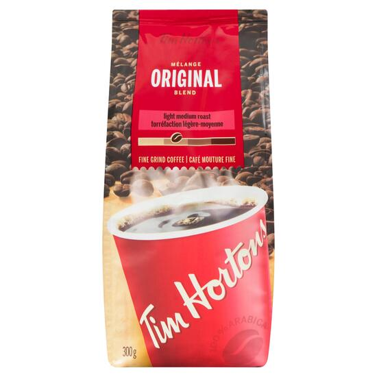 Tim Hortons Fine Grind Original Blend Light Medium Roast Coffee - 300g