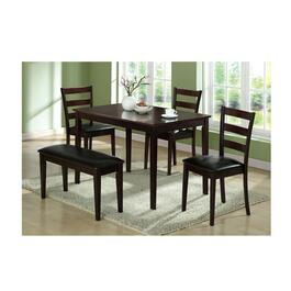 Monarch Specialties 5 Piece Dining Set - Cappucinno Bench with Chairs