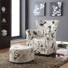 Brassex Icon Fabric Club Chair with Ottoman
