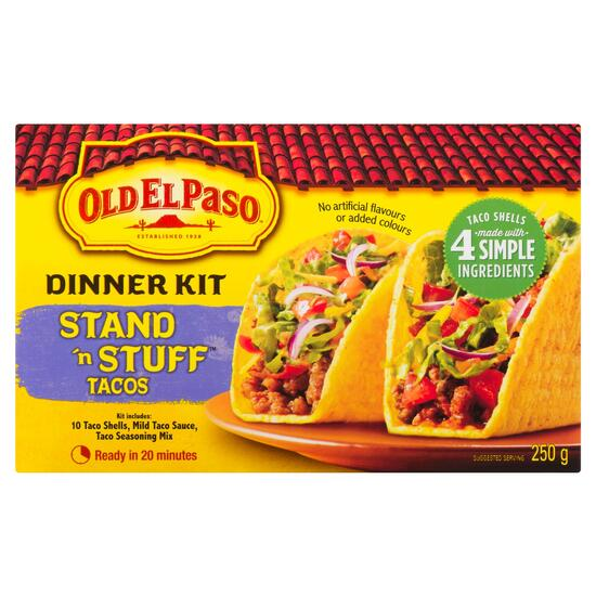 Old El Paso Stand 'n Stuff Dinner Kit Tacos - 250g
