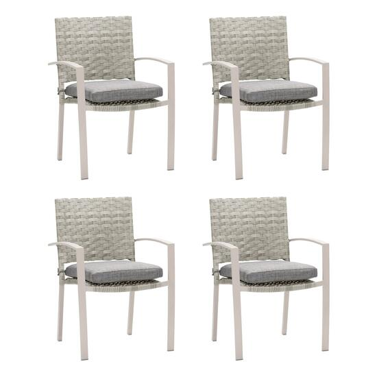 CorLiving Grey Parkview Wicker Dining Chairs - 4pc.