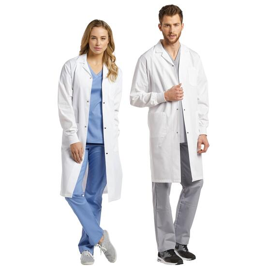 White Cross Unisex Three-Pocket Lab Coat with Snaps and Knit Cuffs - XXS-XL