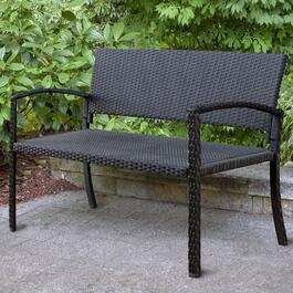 Patioflare Black Jackie KD Wicker Bench - 47.2in.