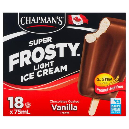 Chapman's Super Frosty Chocolatey Coated Vanilla Light Ice Cream Treats 18pk. - 75ml