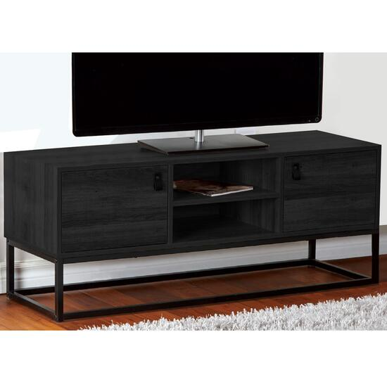 HomeStyles Black TV Cabinet with Faux Leather Pulls