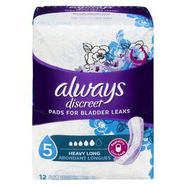 Always Discreet Incontinence Pads Maximum Long Length - 12pk.