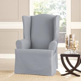 surefit Heavyweight Cotton Slipcover for Wing Chair - Pacific Blue