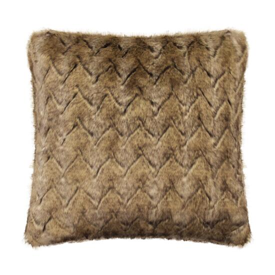 Milano Brown Wolf V Faux Fur Decorative Pillow - 18in.