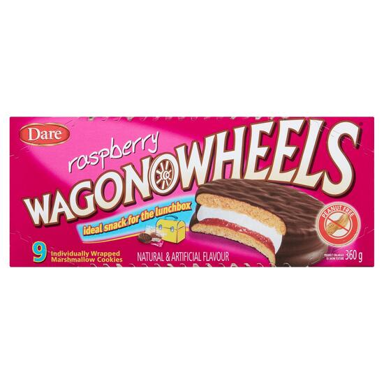 Raspberry Wagon Wheels - 360g
