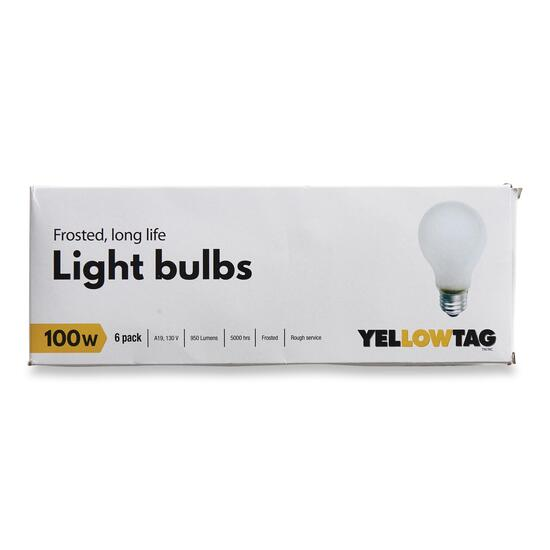 YellowTag 100W Frosted Light Bulbs - 6pk.