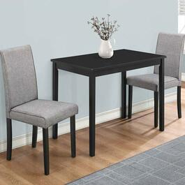 Monarch Specialties 3 Piece Dining Set- Black with Grey Chairs