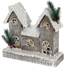 IH Casadécor Snow-Covered Rustic LED Wooden Townhouse - 8.5in.
