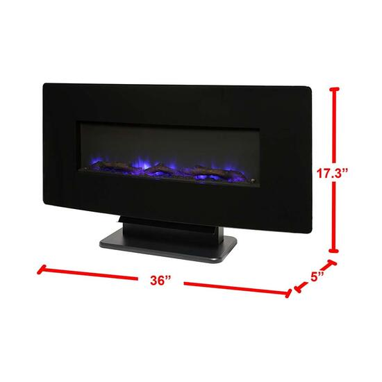 Curved Wall Mount Electric Fireplace - 36in.