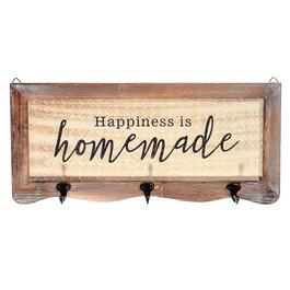Basketweave Wall Sign with 3 Hooks-Happiness is Homemade