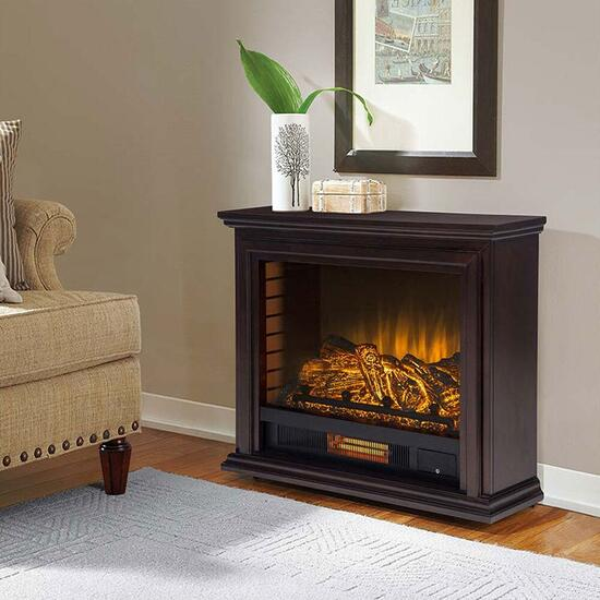 Pleasant Hearth Sheridan Espresso Mobile Infrared Fireplace - 32in.