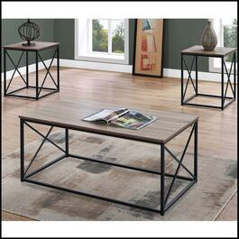 Monarch Specialties Dark Taupe and Black Table Set - 3pc.