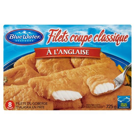 BlueWater Seafoods Classic Cut English styled Battered Alaska Pollock Fillets - 725g