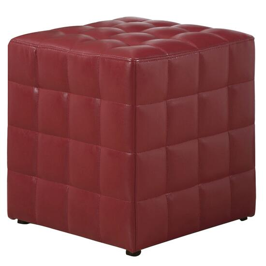 Monarch Specialties Red Tufted Cube Ottoman
