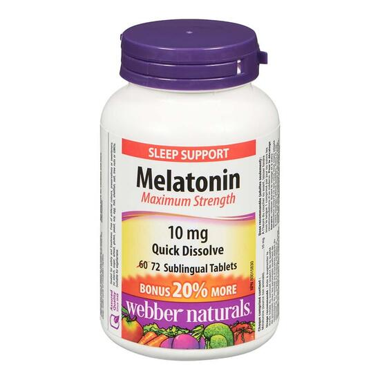 Webber Naturals Maximum Strength Melatonin 10mg - 72 Tablets